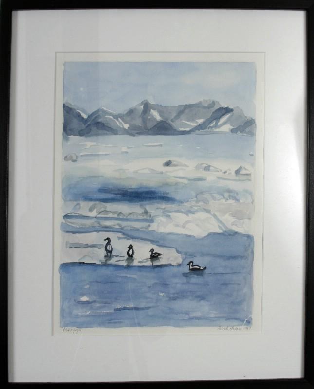 Grønland - Akvarel bag glas med Passepartout