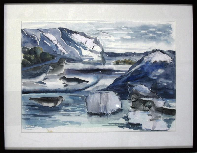 Grønland - Akvaral bag glas med Passepartout