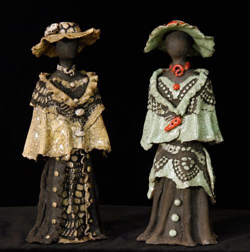 Kvindeskulptur - Brun og grå